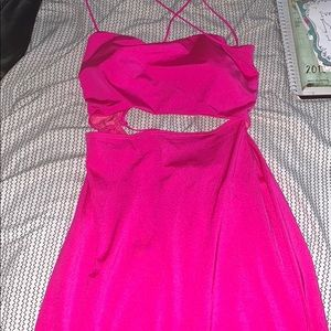 Hot pink strappy in the back dress